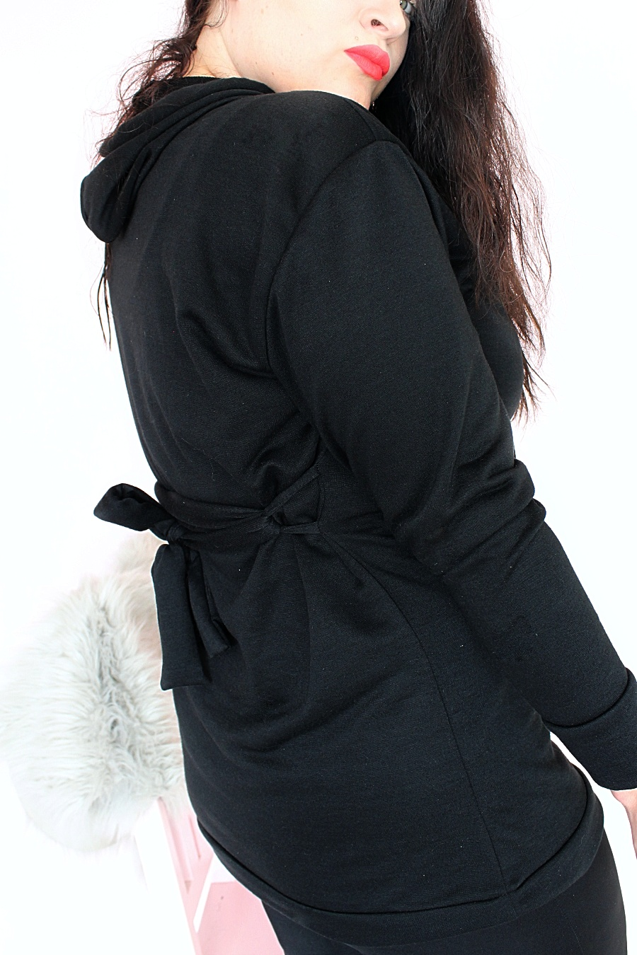 Black belted hoodie dress